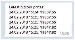 Уведомления о курсе Bitcoin