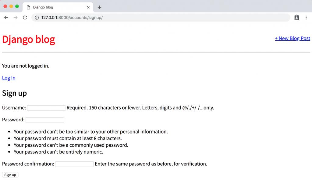 Страница регистрации в Django